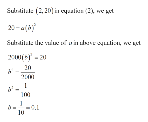 Substitute (2,20) in equation (2), we get 20-a(b) Substitute the value of a in above equation, we get 2000 (b)20 20 b2 2000 1 b2 100 1 b = = 0.1 10