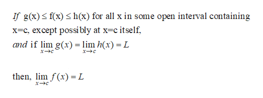 If g(x) f(x) h(x) for all x in some open interval containing x-c, except possibly at x c itself and if lim g(x) lim h(x) = L then, lim f(x) = L