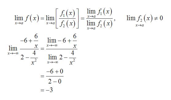 lim f(x) A (x) lim f(x) lim f (x)= 0 lim xa lim f (x (x) xa xa xa xa 6 lim 6 6 -6 lim 4 2 4 lim 2 -6 0 2 0 =-3