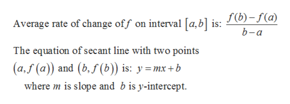 Average rate of change off on interval [a,b] is: J(b)-f(a) b-a The equation of secant line with two points (a,f (a)) and (b,f(b)) is: ymx+b where m is slope and b is y-intercept