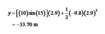 -[10)cin(15)](2.9)+(-9.8)(2.9) =-33.70 m