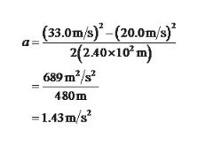 (33.0m/s)-(20.0m/s) 2(2.40x102 689 m2/s2 480m =1.43m/s2