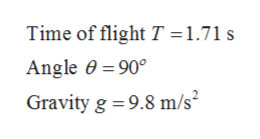 Time of flight T =1.71 s Angle 0 90° Gravity g 9.8 m/s
