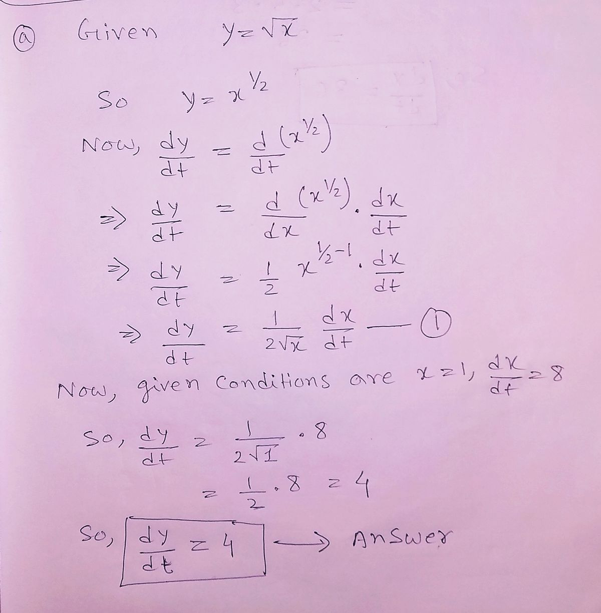 Answered: (a) Find dy/dt, given x = 1 and dx/dt =…   bartleby