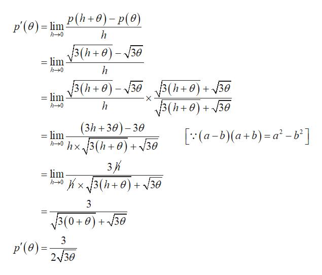 P'(ө) - im P(h+0) - p(ө) h h-0 = lim V3(h+)-30 h h0 3(h+0)-30(h+)+30 =lim 3(h+0) + 30 3(h+0)+30 h h0 (3h 30)-30 (a-b)(a+b)-a-b] = lim h0hx.13(h+ 0) + /30 3К =lim x3(h+0)30 h0 3 3(0+0) + у30 3 p(0)230