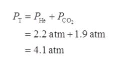 2.2 atm 1.9 atm = 4.1 atm