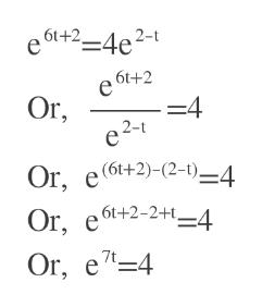 61+2_4e2-1 e 6t+2 е Or, -4 2-t Or, e(6t+2)-(2-1)-4 ,6t+2-2+t_4 Or, Or 7t. , e7-4
