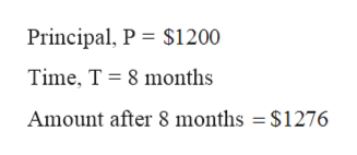 Principal, P $1200 Time, T 8 months Amount after 8 months = $1276