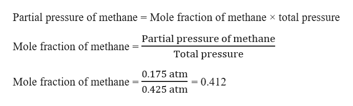 Partial pressure of methane Mole fraction of methane x total pressure Partial pressure of methane Mole fraction of methane Total pressure 0.175 atm Mole fraction of methane =0.412 0.425 atm