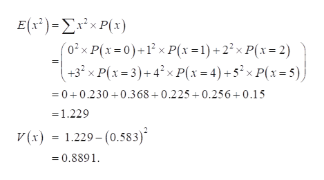 E(s)-ΣέxP's)  '02x P(x 0)+1 x P(x 1)22x P(x 2) +3 x P(x=3)+4?xP(x4)+5xP(x=5) 0+0.230 0.368+0.225+0.256+0.15 =1.229 V(x) = 1.229- (0.583) =0.8891