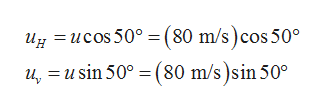 ug ucos50°=(80 m/s)cos 50 u, usin 50° (80 m/s)sin 50°