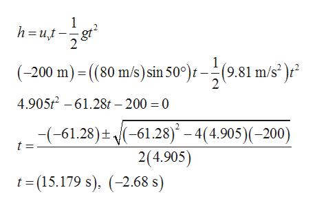 1 h ut 2 (9.81 m/s )r (-200 m)(80 m/s) sin 50°)t 2 4.9052-61.28t - 200 = 0 (-61.28) - 4(4.905)(-200) 2(4.905) -(-61.28). t = t-(15.179 s), 2.68 s)