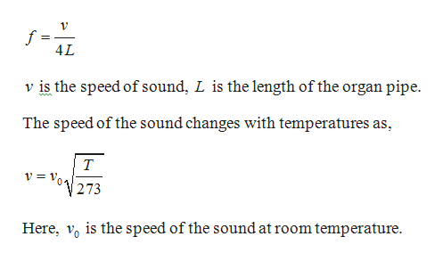 4L v is the speed of sound, L is the length of the organ pipe ww The speed of the sound changes with temperatures as T 273 Here, o is the speed of the sound at room temperature
