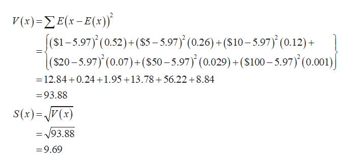 V(1) = Σ Ε(x - Ε[;)} (s1-5.97) (0.52)+($5-5.97) (0.26) +(S10-5.97) (0.12)+  ($20-5.97) (0.07)+ (S50-5.97) (0.029)+($100-5.97) (0.001) E =12.84 0.24+1.95+13.78+56.22 8.84 =93.88 S(x)=V(x) =93.88 =9.69