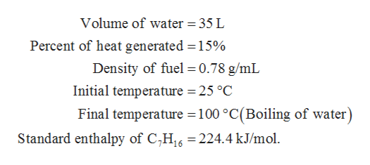 Volume of water = 35 L Percent of heat generated 15% Density of fuel 0.78 g/mL Initial temperature 25 °C Final temperature 100 °C(Boiling of water) Standard enthalpy of C,H16 224.4 kJ/mol