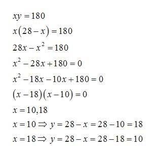 ху %3D 180 x(28-х) - 180 28х - х? - 180 x? - 28х+180 3D0 х-18х —10х + 180- 0 (х -18) (х-10) -0 х%3D10,18 х%3D 10%3D у%3D28-х %3D28-10 %3D 18 х 3D18> у%3D28-х %3D 28-18 %3D 10