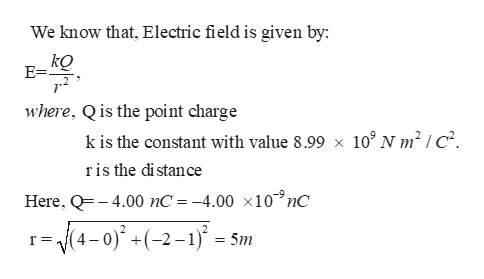 We know that, Electric field is given by: kQ E= where, Qis the point charge k is the constant with value 8.99 x 10° N m2 | c2 ris the di stance Here, Q4.00 nC = -4.00 x10nC (4-0)+(-2-1)5m =