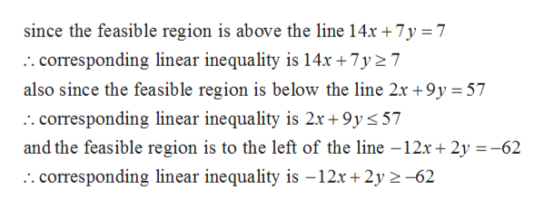 since the feasible region is above the line 14x +7y7 :. corresponding linear inequality is 14x +7y2 7 also since the feasible region is below the line 2x +9y = 57 :. corresponding linear inequality is 2x +9y 57 and the feasible region is to the left of the line -12x 2y62 . corresponding linear inequality is -12x+ 2y 2-62