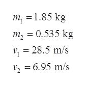 т, 3 1.85 kg т, 3D 0.535 kg 28.5 m/s 2 6.95 m/s