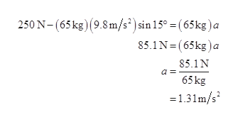 250 N-(65 kg) (9.8m/s2) sin 15° = (65kg)a 85.1N- (65kg)a 85.1N a 65kg =131m/s