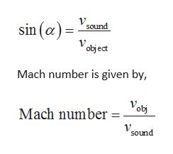 sin (a)= sound object Mach number is given by, Vot Mach number= sound