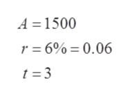 A 1500 r 6%= 0.06