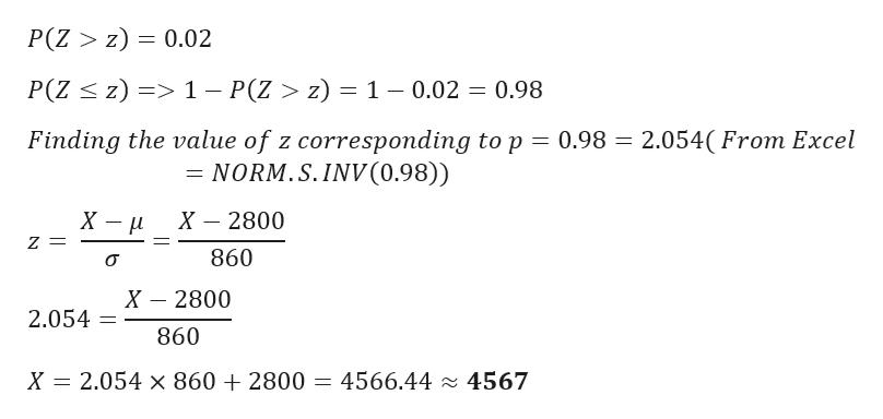 P(Z > z) = 0.02 P(Z z) >1 - P(Z > z) = 1 - 0.02 0.98 Finding the value of z corresponding to p = 0.98 = 2.054(From Excel NORM.S.INV(0.98)) X - х 2800 Z = 860 X 2800 2.054 = 860 2.054 x 860 +2800 = 4566.44 4567 X