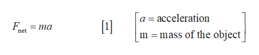 a acceleration F = ma net mass of the object