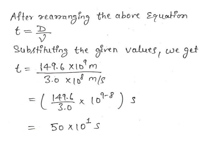 After earansing the abore Equatom t D Substihutfns the giren values, we get t 149.6 XI'm 3.o x ms 9-8 ) 141.6 3.0 1