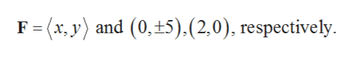 F (x, y) and (0, 5).(2,0), respectively.