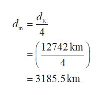 d d m 4 12742 km 4 3185.5km