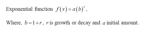 Exponential function f(x)=a(b)* Where, b 1r, r is growth or decay and a initial amount