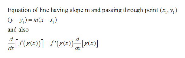 Equation of line having slope m and passing through point (x, y) (у - у) %3D т(х — х) and also d d dx