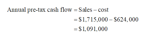 Annual pre-tax cash flow = Sales - cost =$1,715,000 $624,000 = $1,091,000