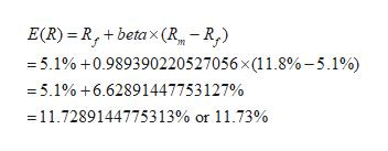 E(R) R,+betax(R -R, =5.1% +0.989390220527056 x 1 1.8%-5.1%) =5.1% +6.62891447753127% 11.7289144775313% or 11.73%