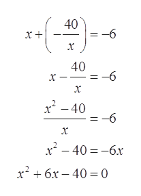 40 -6 40 -6 x x x2-40 -6 x2-406x x6x-40= 0