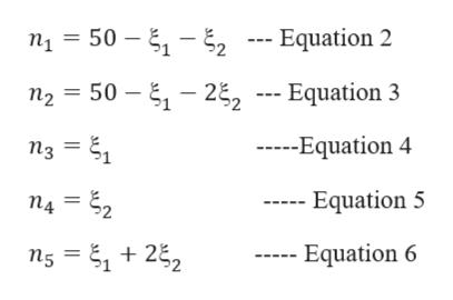 n15 2- Equation 2 50 n2 50 -22 --- Equation 3 --Equation 4 n3 14 = 22 Equation 5 Equation 6 n5 22