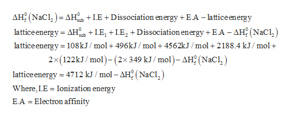 AH2 (NaC AH LE +Dissociation energy + EA - lattice energy latticeenergy AH LEDissociation energy + EA - AH2 (NaCl lattice energy 108kJ/mol+ 496KJ /mol+4562kJ /mol + 2188.4 kJ/mol 2x(122KJ/ mol)-(2x349 kJ/ mol)- AH (NaCl) sub sub lattice energy 4712 kJ /mol - AH2 (NaCl Where, LE Ionization energy = E.A Electron affinity =