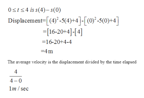 0st4 is s(4)-s(0) Displacement=[(4)-5(4)+4]-[(0)2-5(0)+4] -[16-20+4]-[4] 16-20+4-4 4m The average velocity is the displacement divided by the time elapsed 4 4 0 m/sec