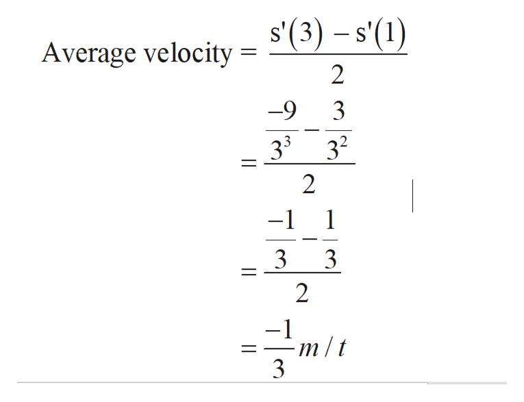 s'(3)-s'(1) S Average velocity 2 9 3 33 32 2 1 -1 3 3 2 m/t 3 |