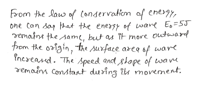 From the law of Condervatiom af enegy one Can say hat the energy of wane E=5J emains thesam, but as TE more outaref Ppom the o3igin, the suxface aseq 6f ware increand. The Speed and slape of wam vemain Constant dusing th movement.
