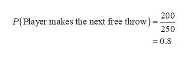 P(Player makes the next free throw) 250 =0.8