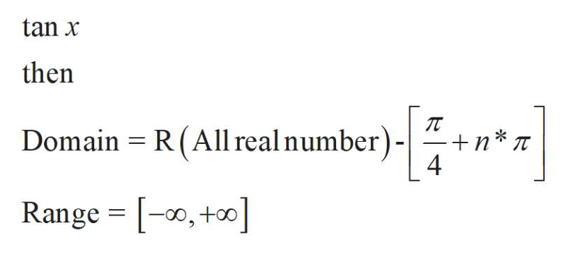 tan x then Domain R (All real number) - +n*T 4 Range [,