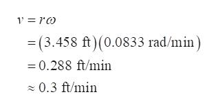 V = ro =(3.458 ft)(0.0833 rad/min =0.288 ft/min 0.3 ft/min