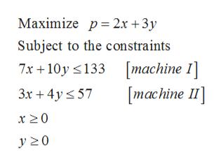 Maximize p 2x +3y Subject to the constraints machine I] [тachine I] 7x 10y 133 3x 4y57 x 20