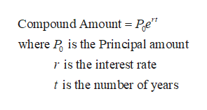 "Compound Amount = Pe"" where P is the Principal amount ris the interest rate t is the number of years"
