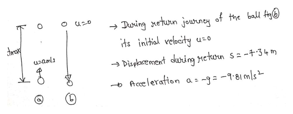uzo During eturn jouwrney of the ball Ag ts initial velocity darax Displacement during eturn s-34 m -Accelerafion a c BO