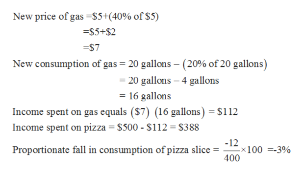 New price of gas =S5+(40% of $5) $5+$2 $7 New consumption of gas 20 gallons - (20% of 20 gallons) 20 gallons 4 gallons = 16 gallons Income spent on gas equals (S7) (16 gallons) = $112 Income spent on pizza $500 - $112 = $388 -12 x100 =-3% 400 Proportionate fall in consumption of pizza slice