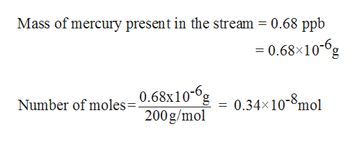 Mass of mercury present in the stream = 0.68 ppb 0.68x106g Number of moles=0.68x10-°g 200g/mo -8 0.34x10mol