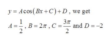 y Acos(Bx+C)D, we get 1 B 2T, C and D = -2 A 2